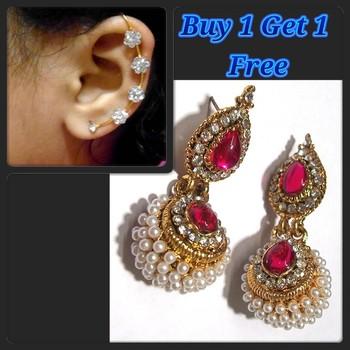 Pink Kundan Pearl Jhumki and Free Earr Cuff