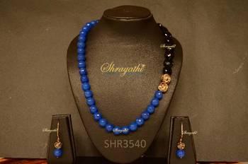 Blue jade necklace set