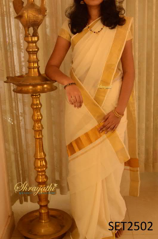 Buy Kerala Set Saree With Blouse Online
