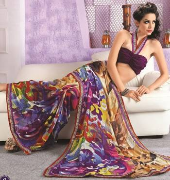 Sarees Faux Georgette Elegant Designer Piece with Blouse Piece D.No 3012A