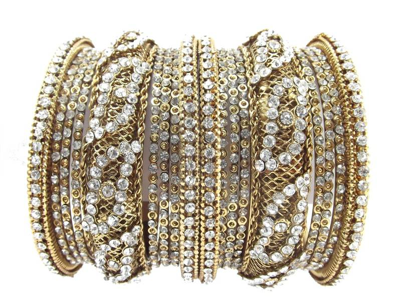 Buy traditional festive collection gold plated 18pc chuda bangles ...