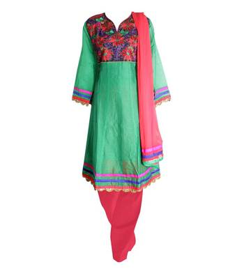 Sihiri Green Dress Material Punjabi Suit with Red Dupatta