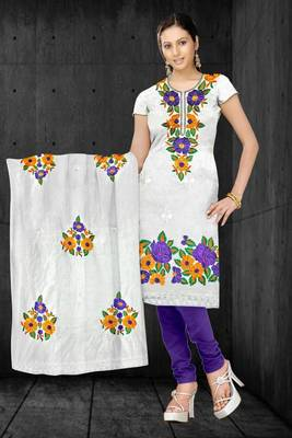 Sihiri White Banaras Cotton Silk Dress Material Punjabi Suit with White Dupatta