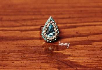 Royal Sky Blue Kundan RING, Adjustable Handmade, Precious Stone Jewelry