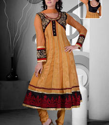 Buy Orange embroidered silk cotton stitched readymade salwar suits readymade-suit online