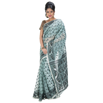 LIGHT GREEN hand woven cotton saree with blouse