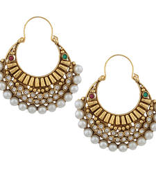 Buy Ethnic Pearl Polki with Red Green Stones Earring By Adiva ansatocoo46mg tds1 hoop online