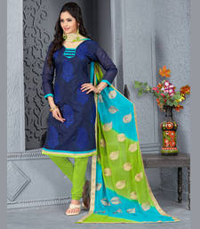Buy Navy Blue embroidered Chanderi and Cotton unstitched salwar with dupatta dress-material online