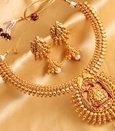 Buy Divine antique royal bridal lakshmi necklace with earrings necklace-set online