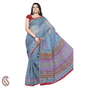 Block Printed Kota Sari in Blue