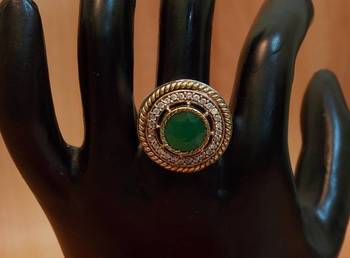 Vintage Traditional Ethnic Tribal Gipsy Victorian Emerald Stone Ring