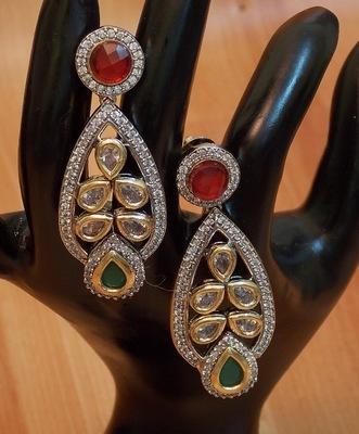 Ethnic Antique Stunning Kundan Zircon Fusion dangler Earrings