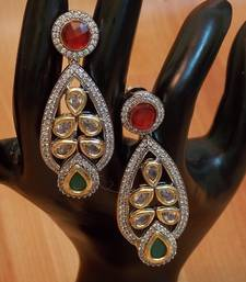 Buy Ethnic Antique Stunning Kundan Zircon Fusion dangler Earrings wedding-gift online