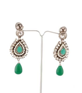 Sihiri Delightful Golden And Green Earrings