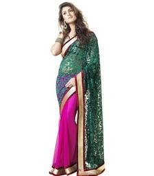 Buy Purple brasso net saree with blouse brasso-saree online