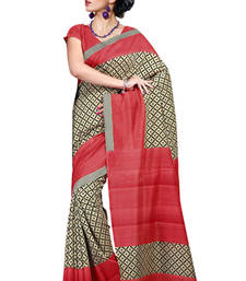 Buy Red and Beige printed cotton saree with blouse printed-saree online