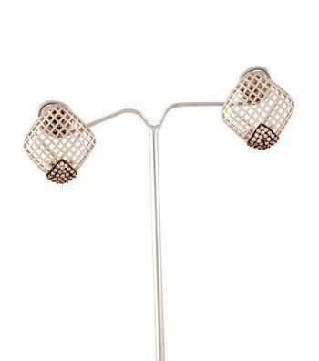 Sihiri Silver Rhombus Mesh Earrings