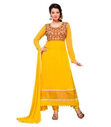 Buy Yellow embroidered georgette semi stitched salwar kameez with dupatta anarkali-salwar-kameez online