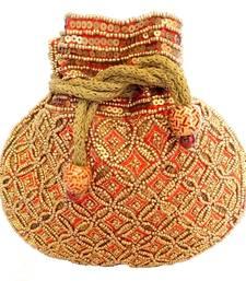 Buy Beaded Drawstring Potli/Batwa- Red potli-bag online