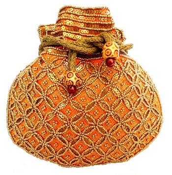 Beaded Drawstring Potli/Batwa- Orange