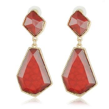 Maroon red geometric shape earring
