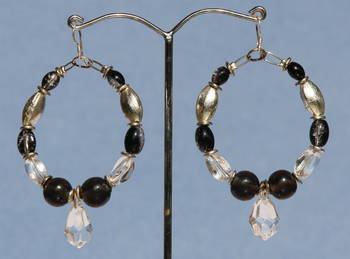 Black and Crystal Hoops.