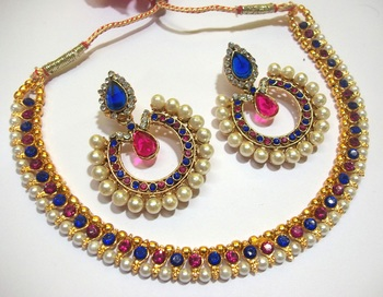 Pink and Blue Tilak Polki Necklace Set