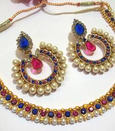 Buy Pink and Blue Tilak Polki Necklace Set hot-deal online