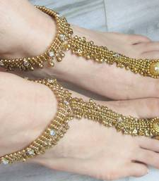 Buy ANTIQUE GOLD  PAYAL ANKLET PAIR ATTACHED TOE RING wedding-season-sale online