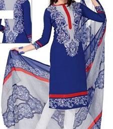 Buy Blue printed Crepe unstitched salwar with dupatta salwar-kameez-below-500 online