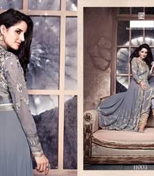 Buy Grey embroidered georgette semi stitched salwar with dupatta anarkali-salwar-kameez online