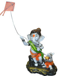 Buy Ganesha Flying Kite with Mushika sculpture online