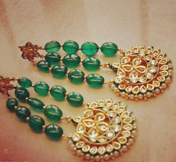 Green Emerald  Jhoomar Earrings