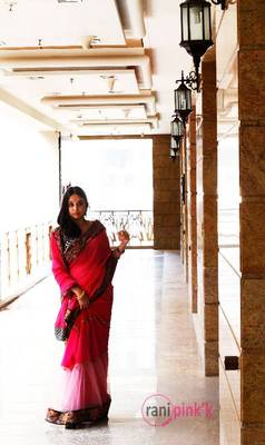 Fushia pink mesh gather saree