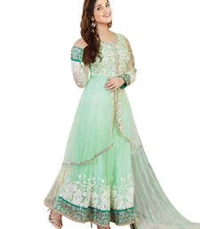 Buy Light Green embroidered georgette semi stitched salwar with dupatta anarkali-salwar-kameez online