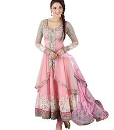 Buy Pink embroidered georgette semi stitched indian anarkali dress wedding-season-sale online