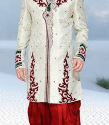 Buy white embroidered brocade sherwani wedding-season-sale online