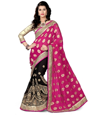 Pink and Black embroidered viscose saree with blouse