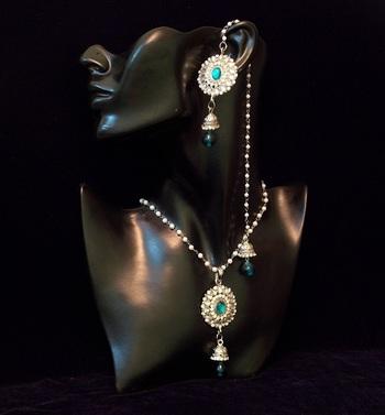 Kashmiri Peacock colored stone crystal flower kundan pendent set