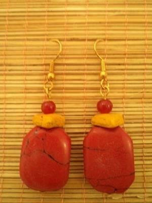 Red Stone Earrings-02036