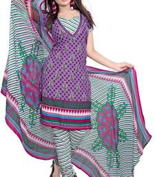 Buy Purple and multicolor printed Crepe unstitched salwar with dupatta dress-material online