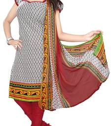 Buy White and multicolor printed Crepe unstitched salwar with dupatta dress-material online