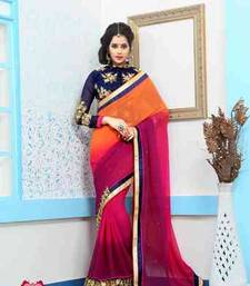 Buy multicolor embroidered georgette saree with blouse printed-saree online