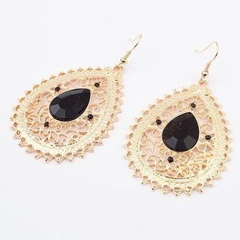 Gold filigree black earrings