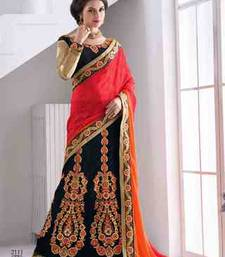 Buy multicolor embroidered net saree with blouse lehenga-saree online