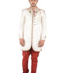 Buy white embroidered brocade sherwani indo-western-dress online
