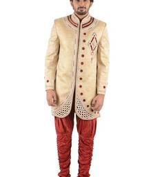 Buy gold embroidered brocade sherwani sherwani online