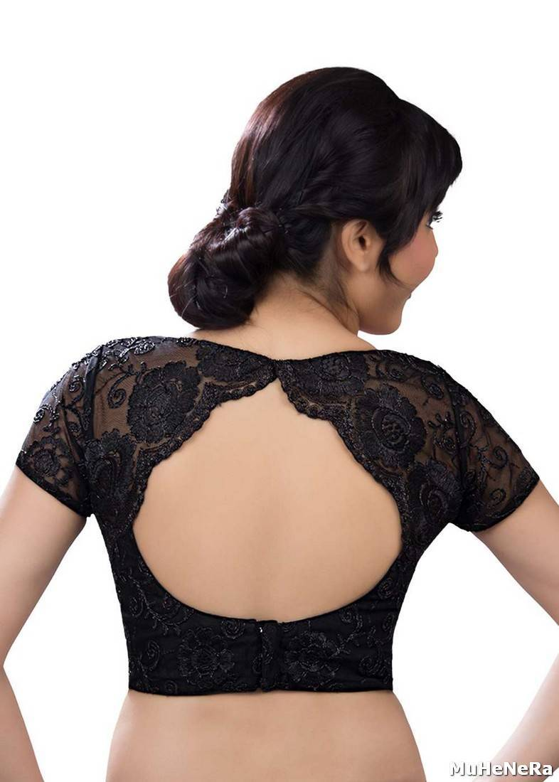Buy Black Net Embroidered Stitched Readymade blouse Online