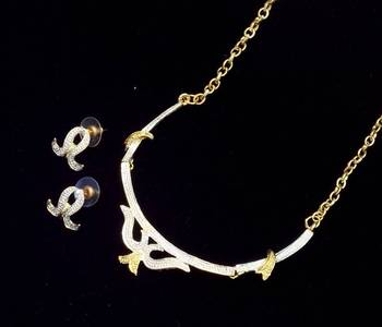 Delicate trendy two tone necklace set