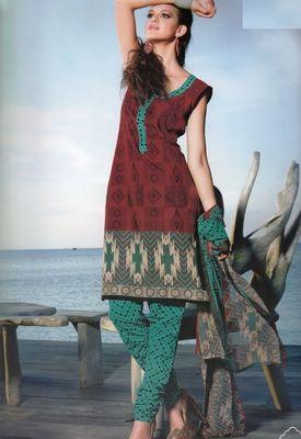 Elegant Cotton Dress Material With Chiffon Dupatta Unstitched Salwar Suit D.No 3032